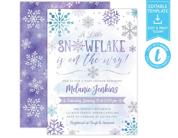 Winter Baby Shower Invitation Snowflake Baby Shower Printable Winter Wonderland Baby Shower Digital or Printed