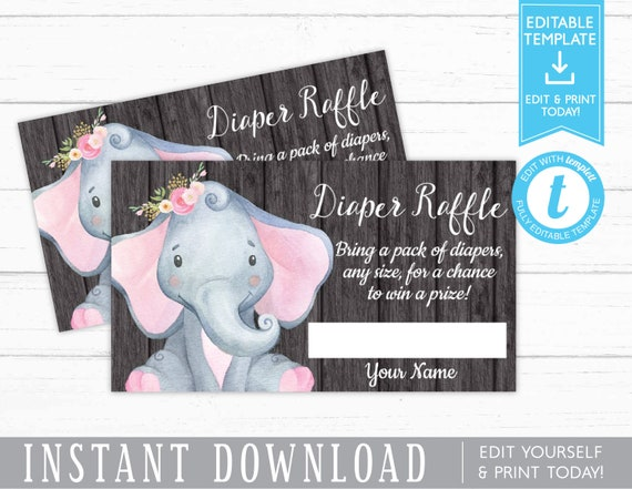 Elephant Diaper Raffle Card Girl Baby Shower Diaper Raffle Ticket Template Instant Download