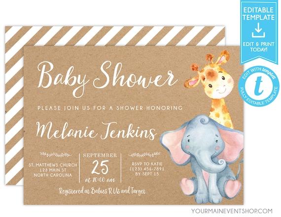 Elephant Baby Shower Invitation, Elephant and Giraffe, Editable Invitation Template, Kraft, Baby Elephant, Templett, Instant Download