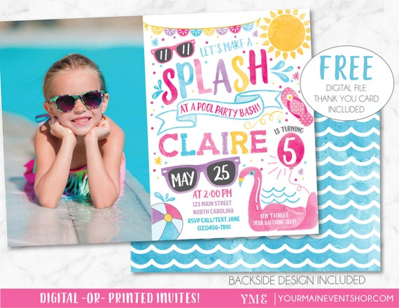 Pool Party Invitation Pool Party Birthday Invite Summer