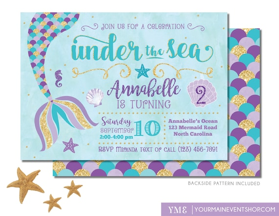 mermaid birthday invitation mermaid invite under the sea etsy