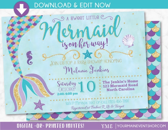 Mermaid Baby Shower Invitation, Little Mermaid on the way Baby Shower Invite, Nautical, Beach, Under The Sea, Instant Download Edit Yourself