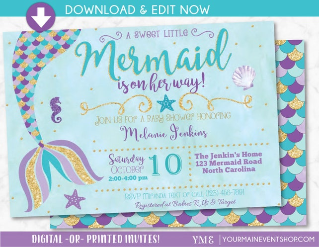 Mermaid baby shower invitation little mermaid on the way baby etsy image 0 filmwisefo