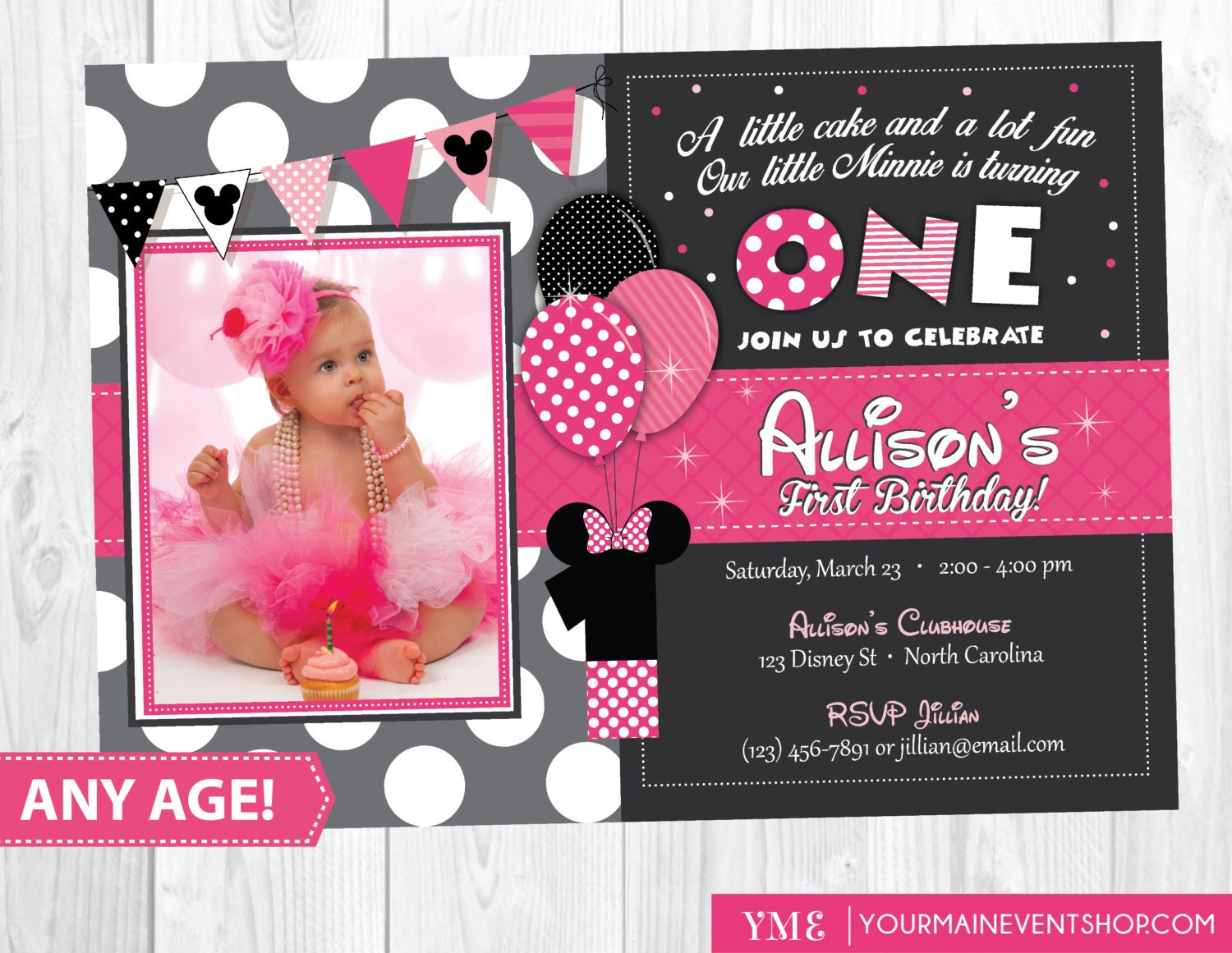 minnie mouse birthday invitation minnie mouse inspired