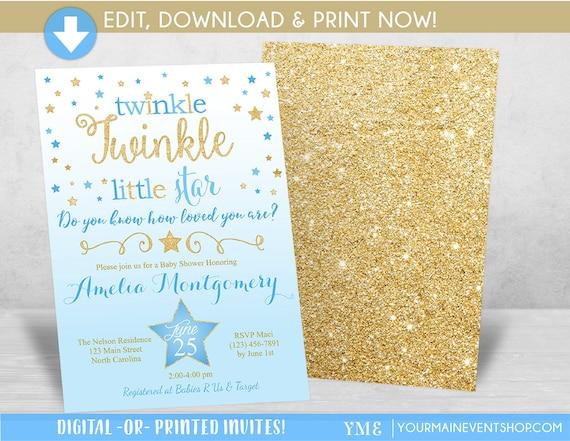 Boy Twinkle Twinkle Little Star Baby Shower Invitation, Twinkle Twinkle Shower Invitation, Blue and Gold Star Invite, Baby Shower • BS-T-01