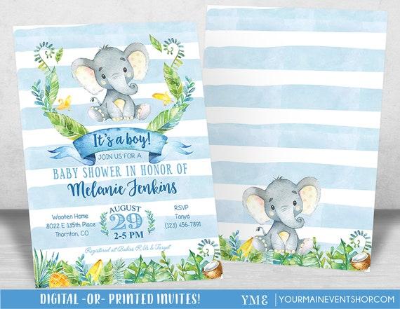 Boy Baby Shower Invitation, Elephant Baby Shower Invitation, Jungle Baby Shower Invite, Tropical Safari Animals Baby Shower, It's a boy