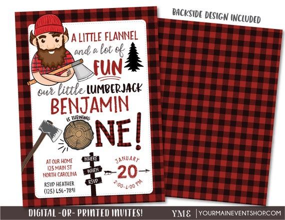 Lumberjack Invitation, Lumberjack Picture Invitation, Red Flannel Invitation, Birthday, Lumber Jack Woodland Invite Printables