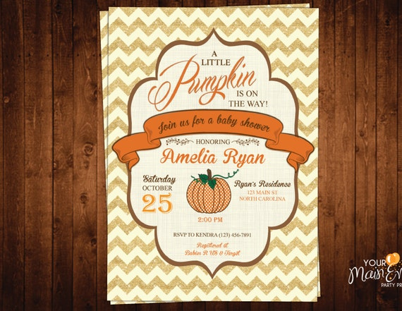 Pumpkin Baby Shower Invitation, Rustic Fall Baby Shower Invite, Autumn Shower, Little pumpkin is on the way!