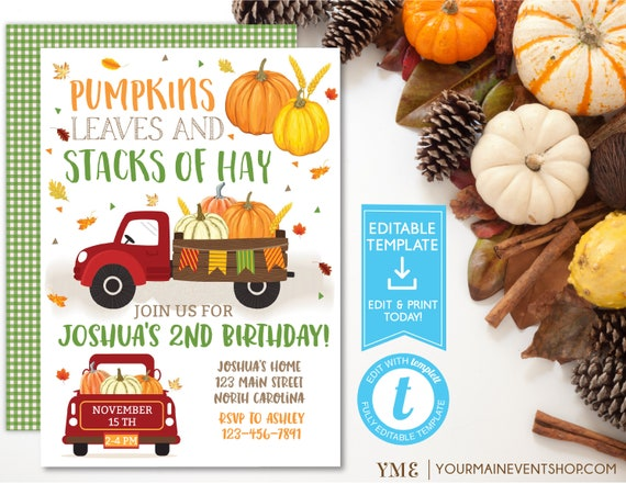 Fall Pumpkin Birthday Invitation, Boy Pumpkin Truck Birthday Invitation Template Printable, Instant Download Templett
