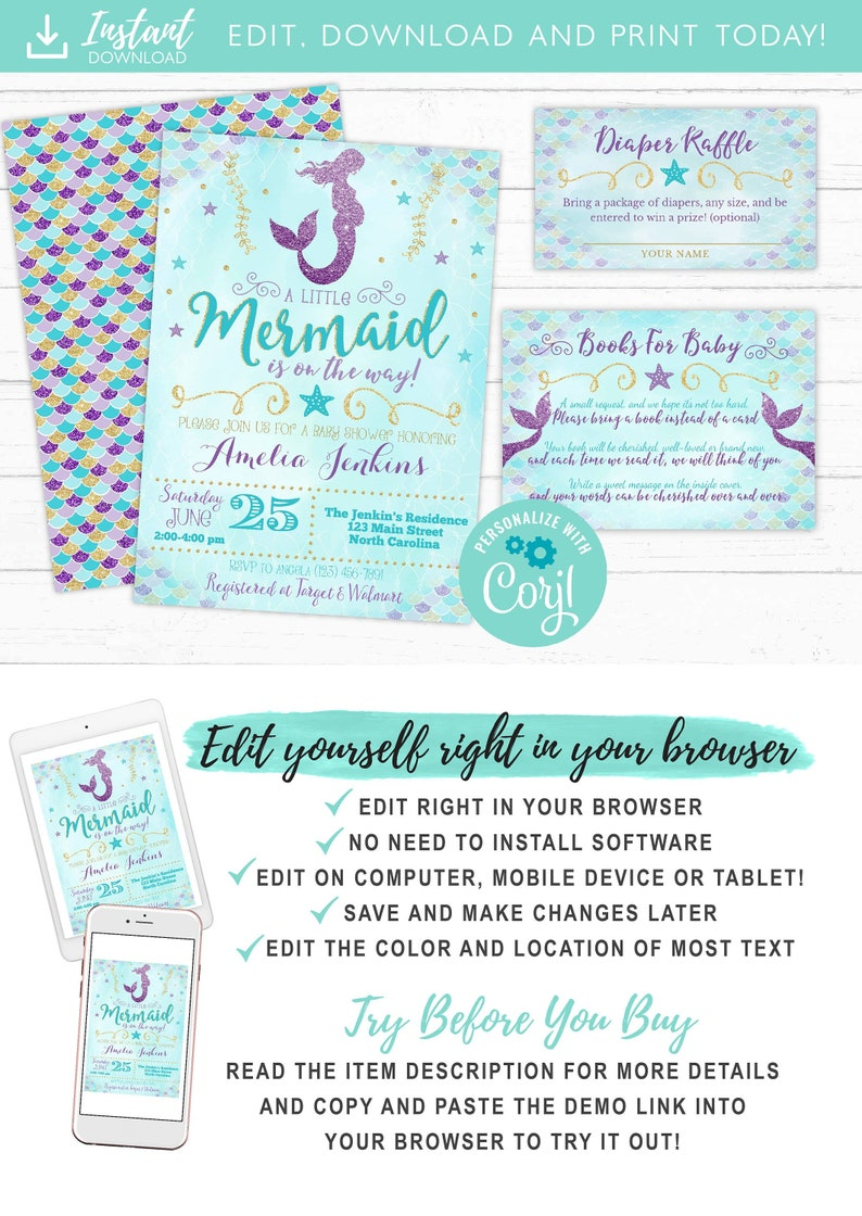968745bfd Mermaid Baby Shower Invitation Girl Mermaid Purple Blue Gold | Etsy