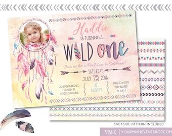 Wild One Tribal Birthday Invitation • Boho Arrow Feathers Watercolor Dream Catcher Pow Wow Invite Printable • Dreamcatcher Wild and Free