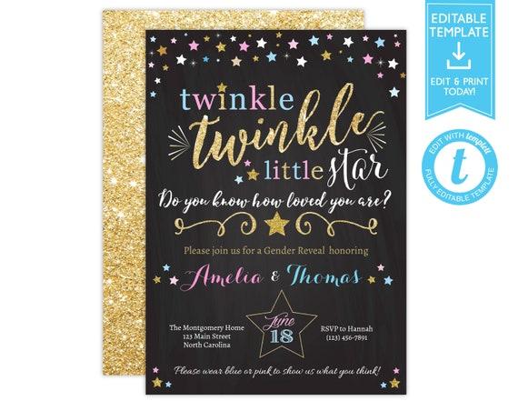 Gender Reveal Twinkle Twinkle Little Star Invitation • Pink Blue Gold Twinkle Star Gender Reveal Party Invite • Baby Shower Printable Invite