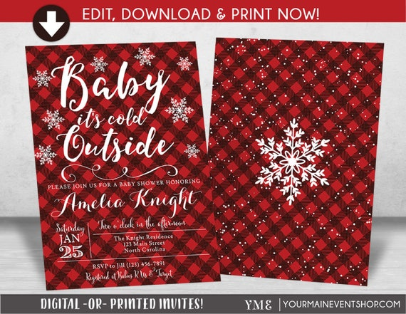 Baby It's Cold Outside Baby Shower Invitation, Plaid Flannel Lumberjack Snowflake Invite, Winter Wonderland, Christmas Baby Shower
