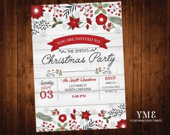 Christmas Party Invitation / Holiday Party Invite / Rustic Christmas Invitation / Printable Invite