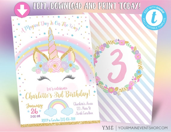 Unicorn Birthday Invitation, Unicorn Party Invite, Rainbow Invitation, Magical Invitation, Rainbow Birthday Invite Printable