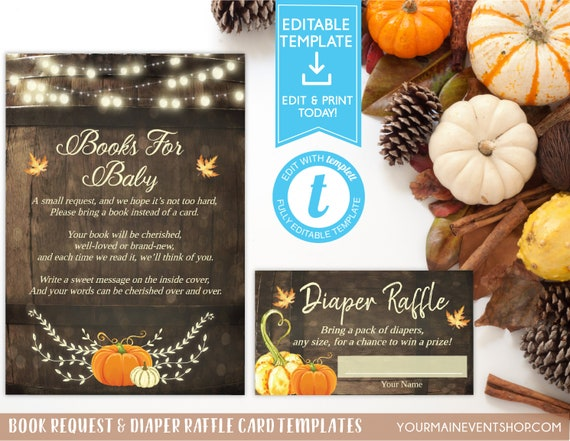 Fall Pumpkin Book Request Card and Diaper Raffle Ticket Bundle Fall Autumn Pumpkin Baby Shower Instant Download Printable