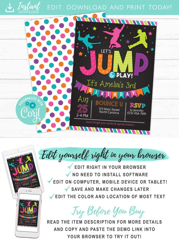 Jump Birthday Invitation Trampoline Party Invite Bounce House Invitations Instant Download Edit Yourself DIY Templett