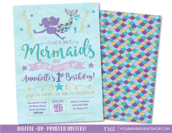 Mermaid Invitation • Mermaid Birthday Invitation • Let's Be Mermaids and Make Waves • Teal Purple Gold