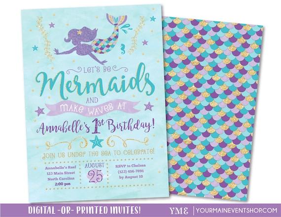 Mermaid Invitation O Birthday Lets Be Mermaids And Make Waves Teal Purple Gold
