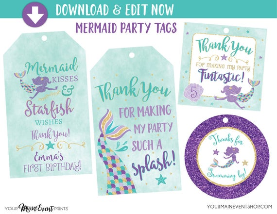 Mermaid Birthday Tags, Mermaid Favor Tags, Under The Sea Mermaid Party, Personalized Edit Yourself Instant Download