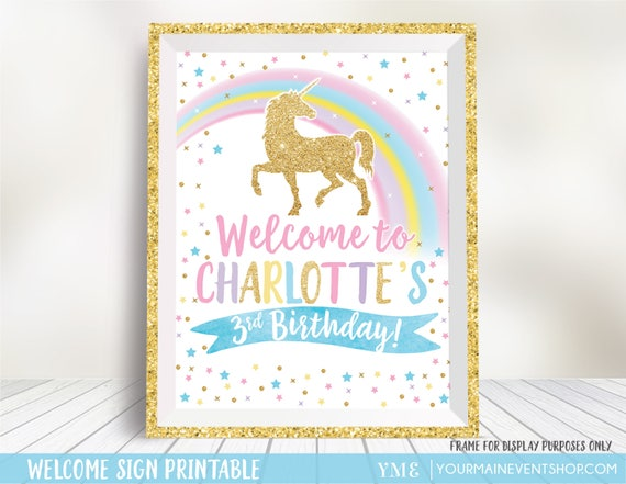 Unicorn Party Sign, Unicorn Welcome Sign, Rainbow Unicorn Party Decoration, Unicorn Party Printable