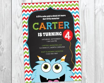 Monster Invitation, Monster Birthday Invitation, Monster Party, Little Monster First Birthday, Fourth Birthday, Instant Download