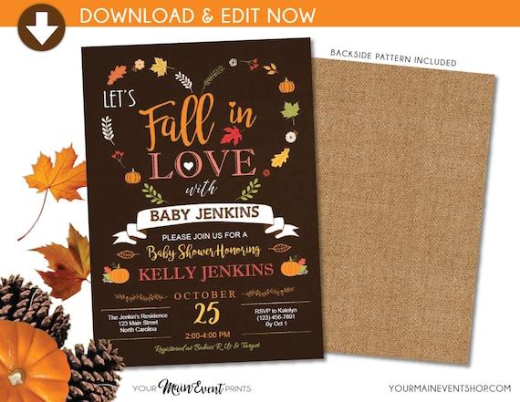 Fall Baby Shower Invitation, Pumpkin Fall In Love Baby Shower Invite, Burlap Autumn Shower, Instant Download DIY Edit Yourself
