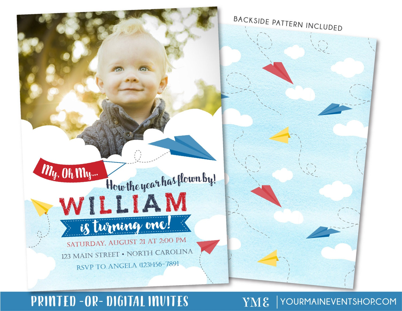 Paper Airplane Birthday Invitation Time