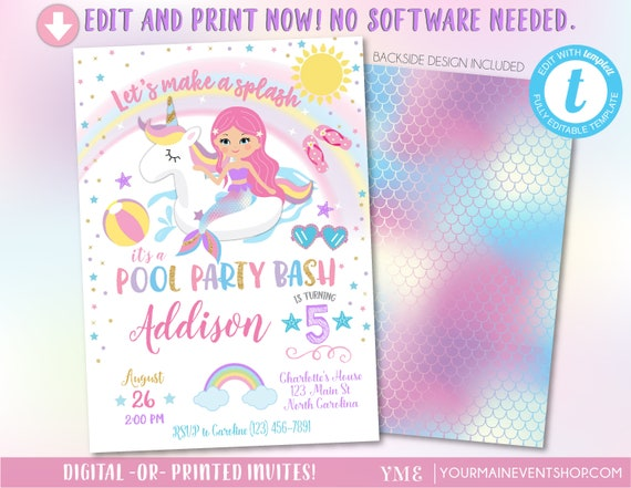 unicorn mermaid pool party invitation pool party birthday unicorn