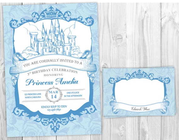 Cinderella Inspired Princess Invitation, Vintage Royal Castle Princess Birthday Party Invitation and Matching Thank You Card