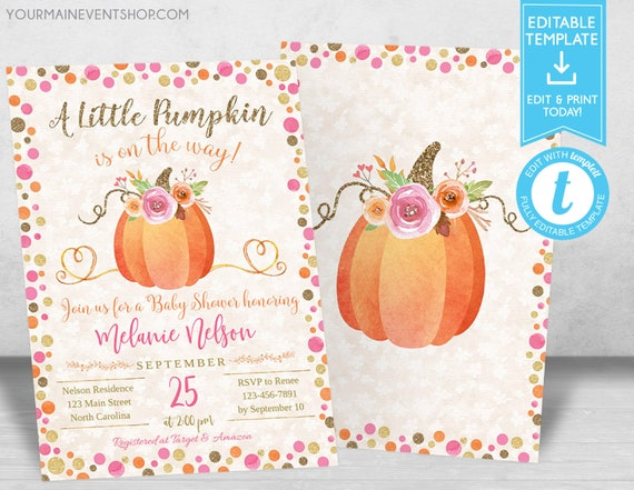 Fall Pumpkin Baby Shower Invitation, Girl Autumn Baby Shower Invite, Burlap Autumn Shower, A Little Pumpkin Is On The Way Templett Template
