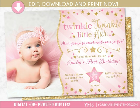 Twinkle Twinkle Little Star Birthday Invitation, Twinkle Twinkle Invite With Photo, Pink and Gold Star, First Birthday, 1st Birthday