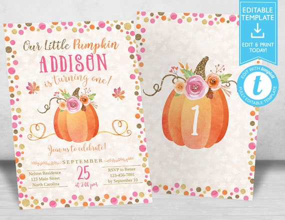 Our Little Pumpkin Birthday Invitation Invitations Fall Autumn 1st Invites 2nd For Girl