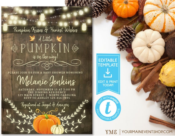 Rustic Fall Pumpkin Baby Shower Invitation, Fall Baby Shower, Little Pumpkin, Autumn Floral Baby Shower, Editable template, Instant Download