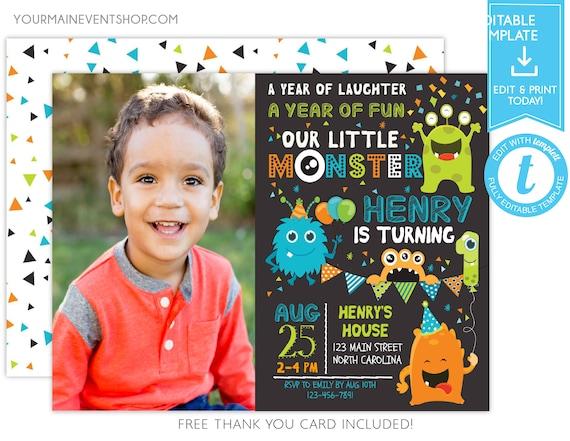 Monster Invitation Photo Monster Birthday Invitation, Monster Party, Little Monster First Birthday, 1st Templett Template Instant Download