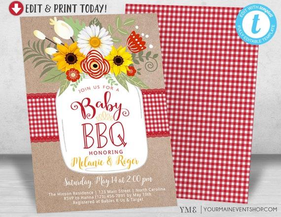baby bbq invitation baby shower invite baby q barbeque etsy