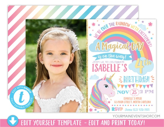 Unicorn Invitation, Rainbow Invitation, Magical Invitation, Unicorn Birthday Invitation, Rainbow Birthday Invite Printable, Unicorn Party