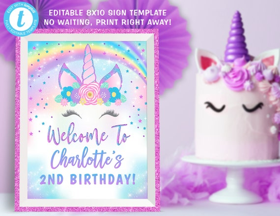 Unicorn Welcome Sign, Unicorn Party Welcome Sign Decorations, Unicorn Center Piece Edit Yourself Templett Temaplte Instant Dwonload