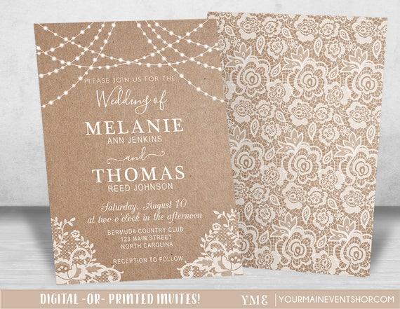 Country Rustic Kraft and Lace Wedding Invitations, Printable Wedding Invite, String of lights