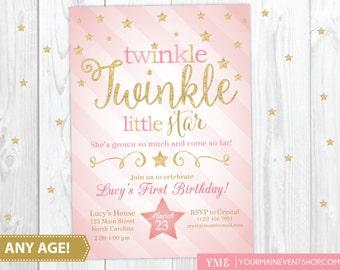 Twinkle Twinkle Little Star Birthday Invitation, Twinkle Twinkle Invitation, Pink and Gold Star Invitation, First Birthday, 1st Birthday