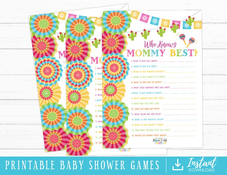 Fiesta Baby Shower Games Who Knows Mommy Instant Download Printable
