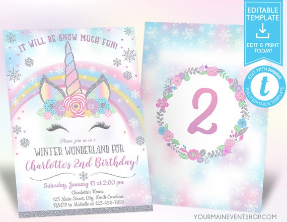 Winter Wonderland Unicorn Birthday Invitation