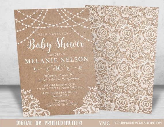 Neutral Baby Shower Invitation, Kraft and Lace Country Baby Shower Invitation, Country Rustic Baby Shower Invite, Boy Girl