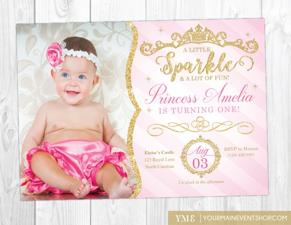 Princess Invitation Princess 1st Birthday Invite Pink And Etsy