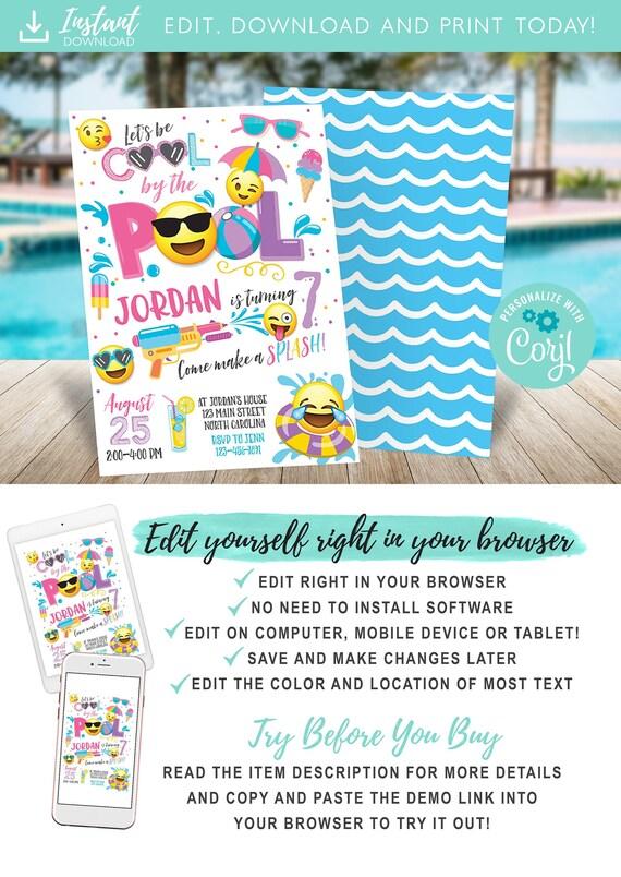 Emoji Pool Party Invitation Pool Party Birthday Invitation Etsy