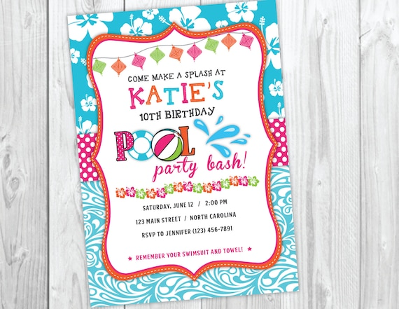Pool Party Invitation Beach Luau Bash Birthday Summer Invite