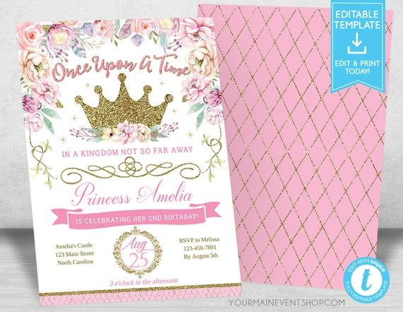 Princess Invitation Birthday Royal