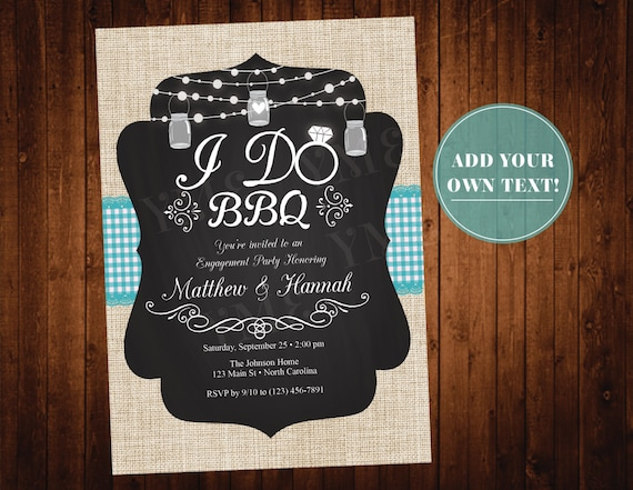 I Do BBQ Invitation - Engagement Party Invite - Bridal Shower Invitation - Couples Engagement Party - I Do Barbeque - Instant Download