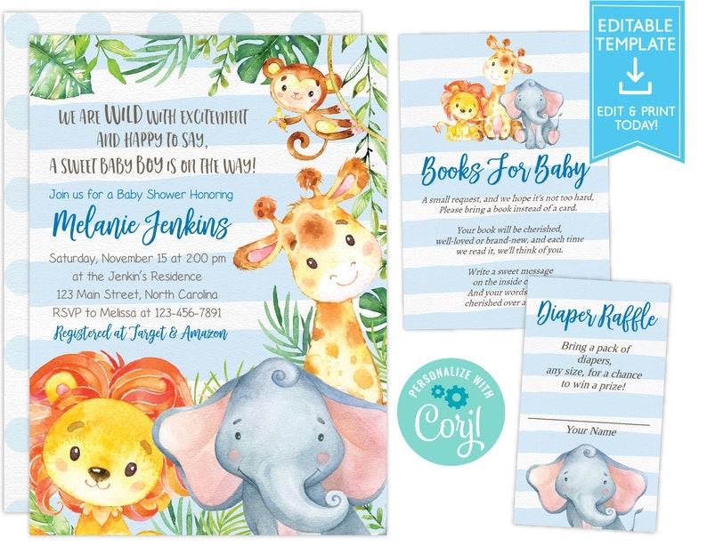 2c79d963c7fa Jungle Baby Shower Invitation, Boy Baby Shower Invitation, Monkey Giraffe  Elephant Baby Shower Invite, Tropical Safari Animals Baby Shower