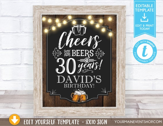 Cheers and Beers Party Welcome Sign, Cheers and Beers to 30 Years, 40 Years, 50 Years, Adult Birthday Sign Decoration, Center Piece